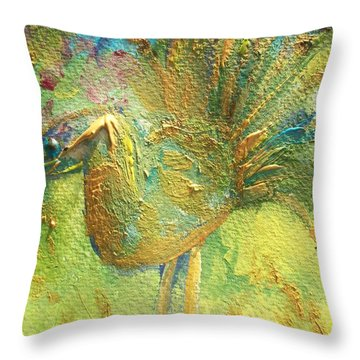 The Peacock Of The Golden Court Throw Pillow