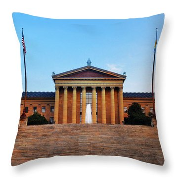 The Philadelphia Museum Of Art Front View Throw Pillow by Bill Cannon