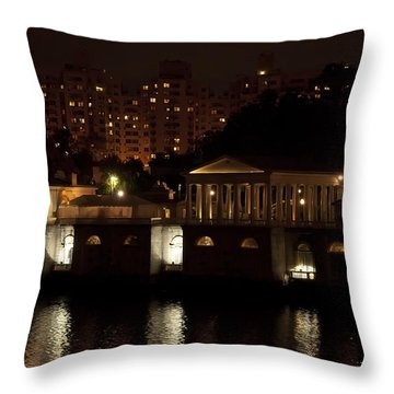 The Philadelphia Waterworks All Lit Up Throw Pillow by Bill Cannon