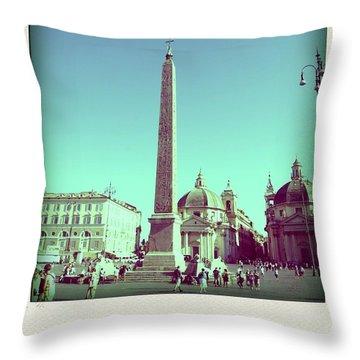 The Piazza Del Popolo. Rome Throw Pillow by Bernard Jaubert
