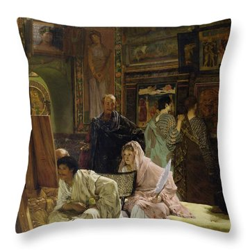 The Picture Gallery Throw Pillow by Sir Lawrence Alma-Tadema