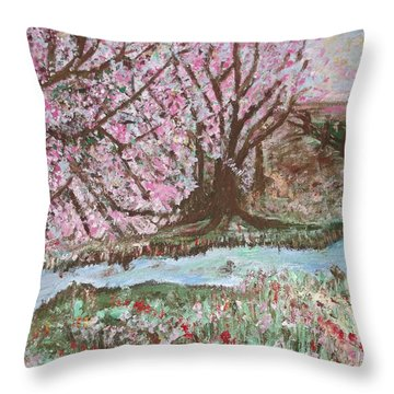 The Pink Tree Throw Pillow