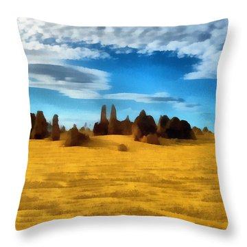 Throw Pillow featuring the digital art The Pinnacles Nambung National Park by Roberto Gagliardi