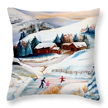 The Pond In Winter Throw Pillow by Renate Nadi Wesley