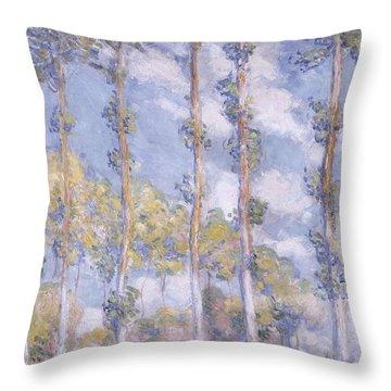 The Poplars Throw Pillow by Claude Monet