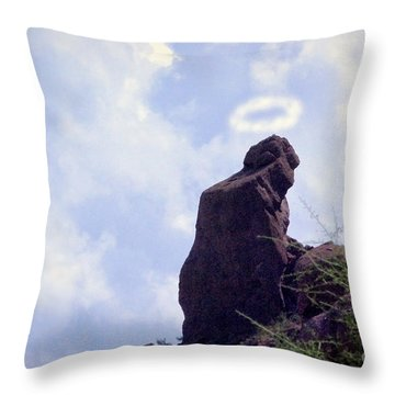 The Praying Monk With Halo - Camelback Mountain - Painted Throw Pillow by James BO  Insogna