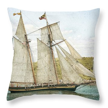 Throw Pillow featuring the photograph The Pride Of Baltimore In Halifax by Verena Matthew