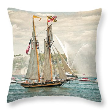 Throw Pillow featuring the photograph The Pride Of Baltimore by Verena Matthew