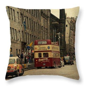The Princes Street In Edinburgh. Scotland Throw Pillow by Jenny Rainbow