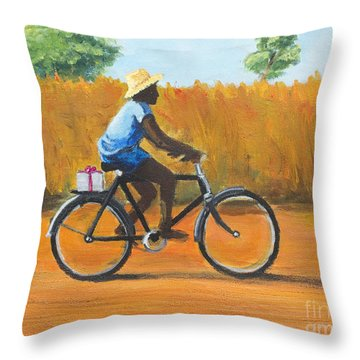 Throw Pillow featuring the painting The Promise by Dwayne Glapion