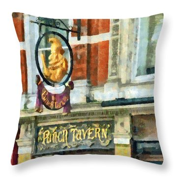 The Punch Tavern At 99 Fleet Street In London Throw Pillow by Steve Taylor