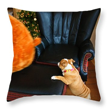 The Puppy Chase Throw Pillow by Ann Murphy