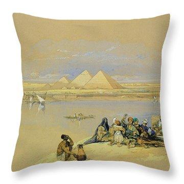 The Pyramids At Giza Near Cairo Throw Pillow by David Roberts