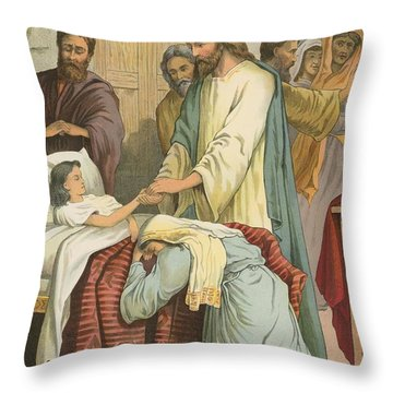 The Raising Of Jairus' Daughter Throw Pillow by English School