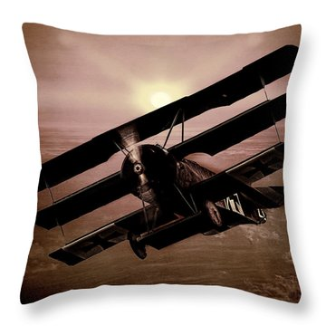 Throw Pillow featuring the photograph The Red Baron's Fokker At Sunset by Chris Lord
