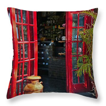 Throw Pillow featuring the photograph The Red Doors by Judy  Johnson