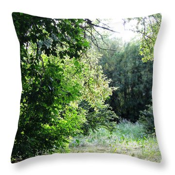 The Red Flower Throw Pillow by Leanna Lomanski