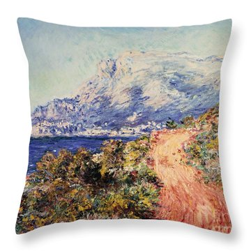 The Red Road Near Menton Throw Pillow by Claude Monet