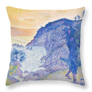 The Return Of The Fisherman Throw Pillow by Henri-Edmond Cross