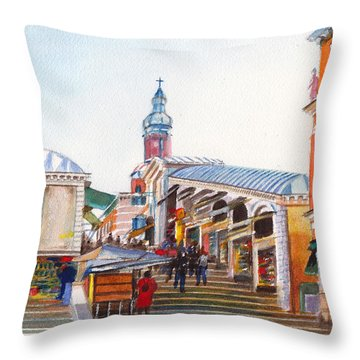 The Rialto Bridge Over The Grand Canal In Venice Italy Throw Pillow by Dai Wynn