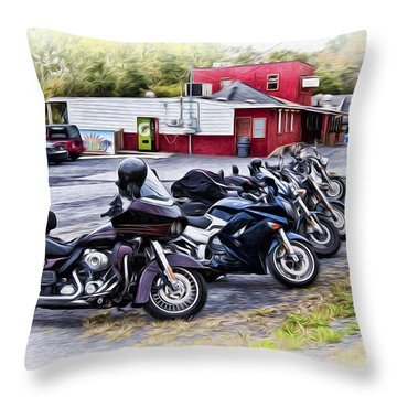The Riverside Barr And Grill - Easton Pa Throw Pillow by Bill Cannon