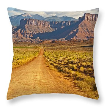 The Road Beckons Throw Pillow by Bob and Nancy Kendrick