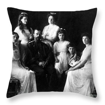 The Romanovs, Russian Tsar With Family Throw Pillow by Science Source