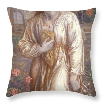 The Salutation  Throw Pillow by Dante Charles Gabriel Rossetti