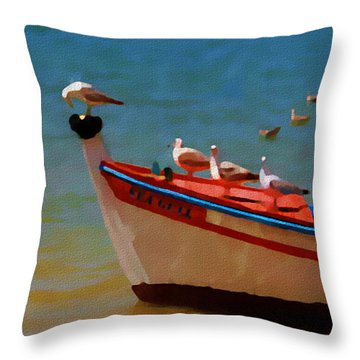 Throw Pillow featuring the painting The Sea Gulls by Jann Paxton