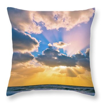 The Sea In The Sunset Throw Pillow