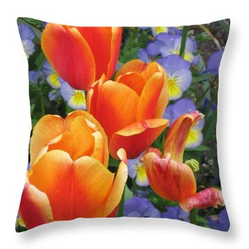 The Secret Life Of Tulips - 2 Throw Pillow by Rory Sagner