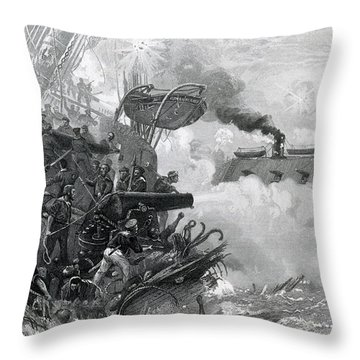 The Sinking Of The Cumberland, 1862 Throw Pillow by Photo Researchers