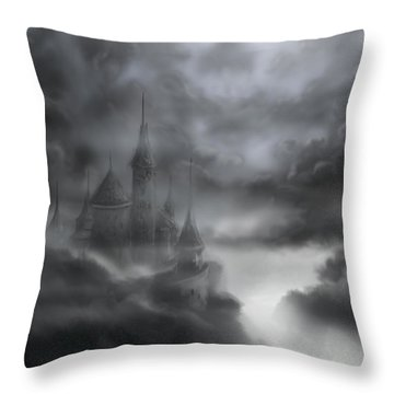 The Skull Castle Throw Pillow