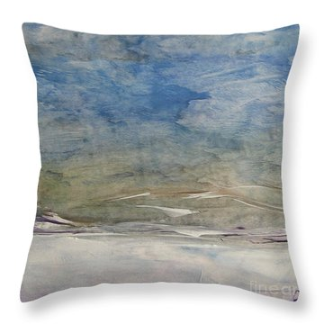 Throw Pillow featuring the painting The Snowy Landscape by Dragica  Micki Fortuna