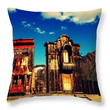 The Sombrero Bank In Old Tuscon Arizona Throw Pillow by Susanne Van Hulst