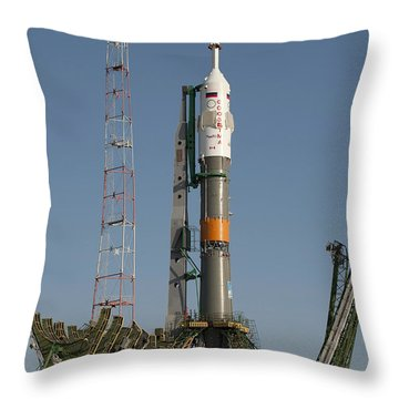 The Soyuz Rocket Shortly After Arrival Throw Pillow by Stocktrek Images