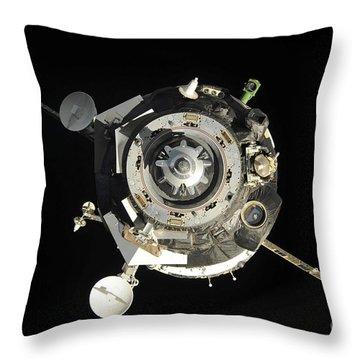 The Soyuz Tma-17 Spacecraft Departs Throw Pillow by Stocktrek Images