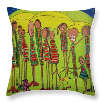 Throw Pillow featuring the painting The Spotted Duck by Donna Howard