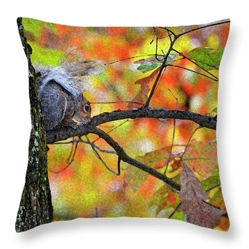 Throw Pillow featuring the photograph The Squirrel Umbrella by Paul Mashburn