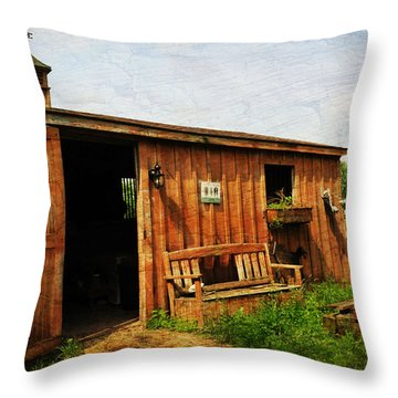 The Stable Throw Pillow by Paul Ward