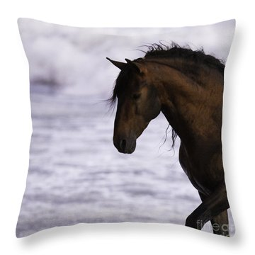 The Stallion And The Ocean Throw Pillow by Carol Walker