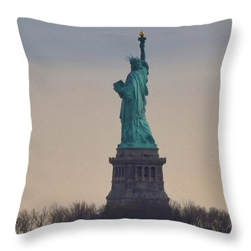 The Statue Of Liberty Throw Pillow by Bill Cannon