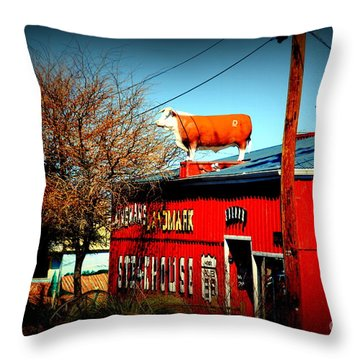 The Steakhouse On Route 66 Throw Pillow by Susanne Van Hulst