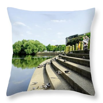 The Steps Of Derby River Gardens Throw Pillow by Rod Johnson