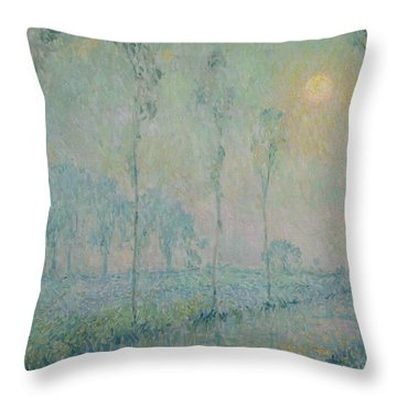 The Stream At Sunset Throw Pillow by  Henri Eugene Augustin Le Sidaner