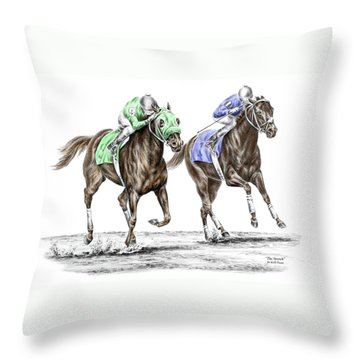 Throw Pillow featuring the drawing The Stretch - Tb Horse Racing Print Color Tinted by Kelli Swan