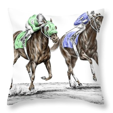 The Stretch - Tb Horse Racing Print Color Tinted Throw Pillow