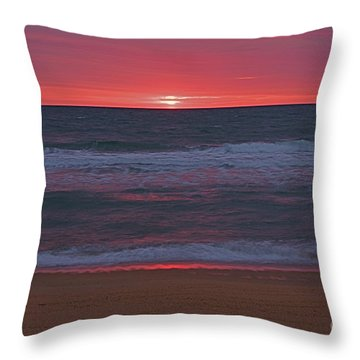 The Sunrise At Outer Banks Beach Throw Pillow by Nicola Fiscarelli
