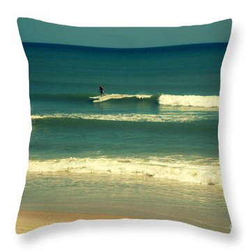 The Surfer Guy Throw Pillow by Susanne Van Hulst