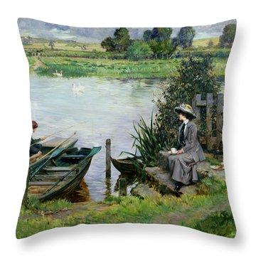 The Thames At Benson Throw Pillow